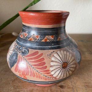 "Vintage Round Aztec painted Ceramic Vase Pot 6"""